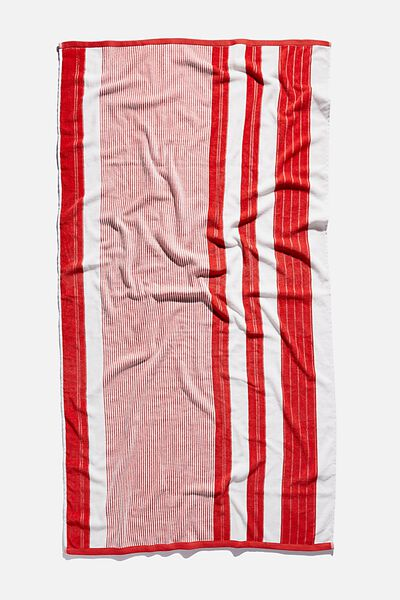 Bondi Rectangle Towel, RED POOLSIDE STRIPE