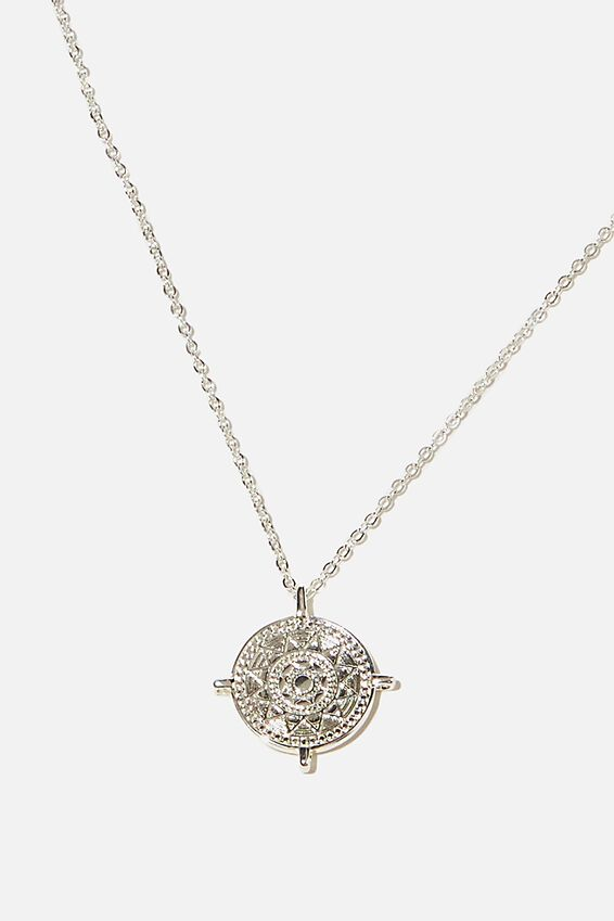 Premium Pendant Necklace, STERLING SILVER PLATED COMPASS