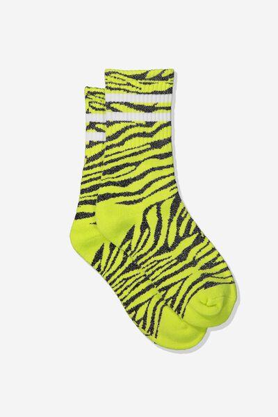 Sporty Stripe Crew Sock, GREEN GLOW ZEBRA