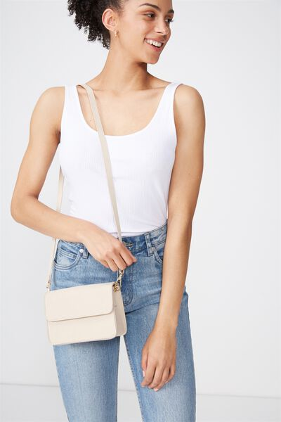 Boxy Cross Body Bag, STONE
