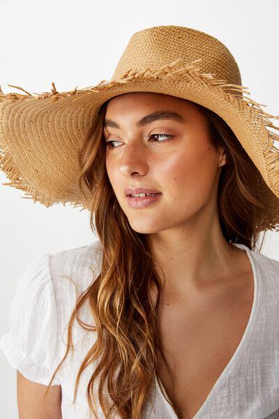 Michaela Frayed Wide Brim Hat, NATURAL