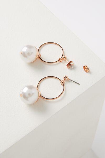 Maddy Metallic Pearl Earring, ROSE GOLD