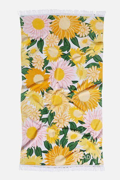 Personalised Bondi Rectangle Towel, SUNSHINE YELLOW SUNNY RETRO FLORAL