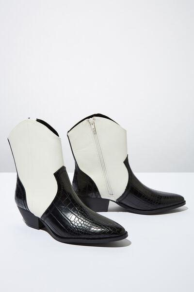 Larissa Western Boot, BLACK/WHITE COMBO