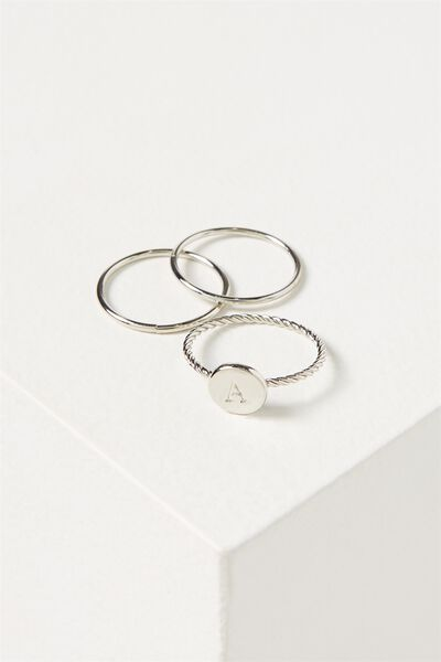 Letter Pendant Ring, SILVER - A