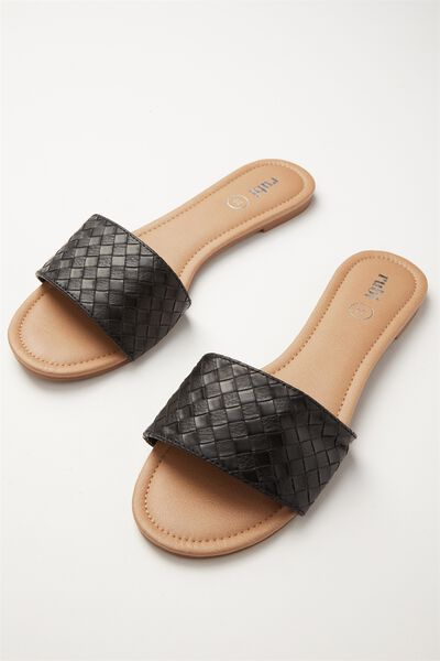 Everyday Slide, BLACK WOVEN PU