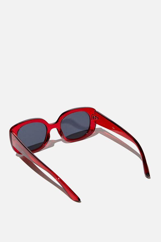 Jade Square Sunglasses, RED/ SMOKE