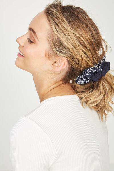 2Pk Scrunchie, NAVY PAISLEY/NAVY SELF STRIPE