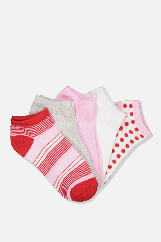 5Pk Ankle Sock, RED/PINK VARIGATED STRIPE