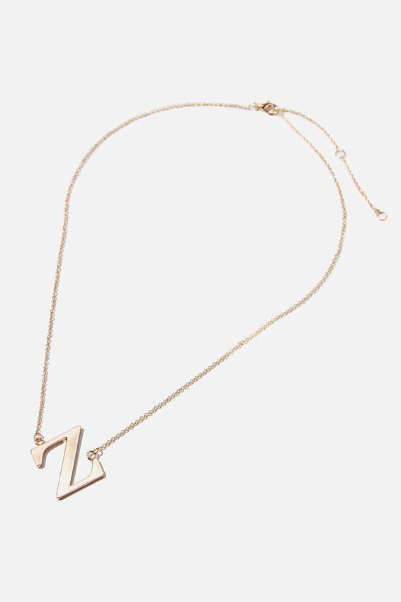 Tilted Letter Necklace, GOLD Z