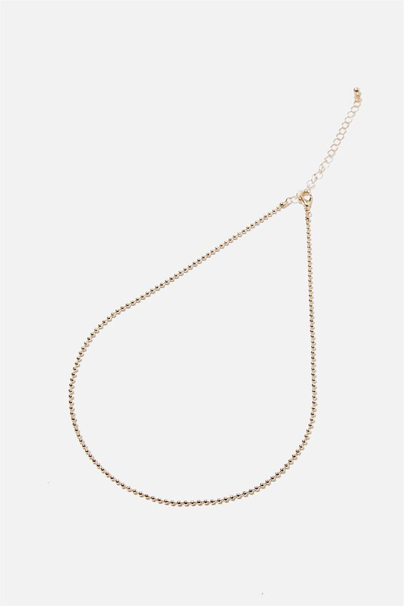 Treasures Single Chain Necklace, GOLD BALL CHAIN