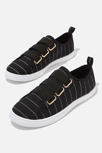 Olsen Elastic Slip On, BLACK PIN STRIPE
