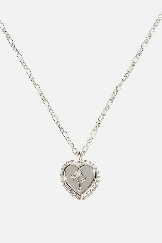 Brighter Days Pendant Necklace, ENGRAVED HEART SILVER