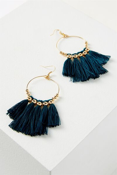 Cleo Tassel Earring, JUNE BUG