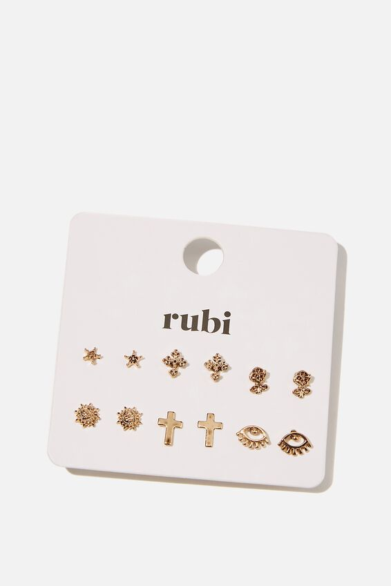 Ear Party 6Pk Multi Studs, GOLD 90s ICON