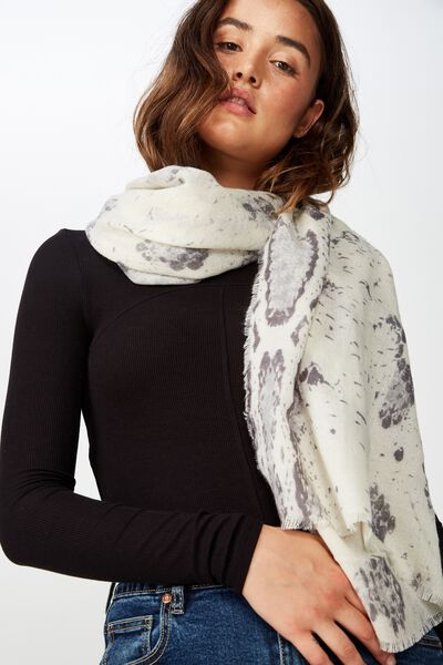 Maddie Mid Weight Scarf, GREY SNAKE PRINT