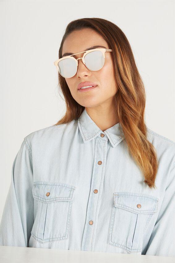 Annie Top Bar Sunglasses, MATTE GOLD/BLUSH LENS