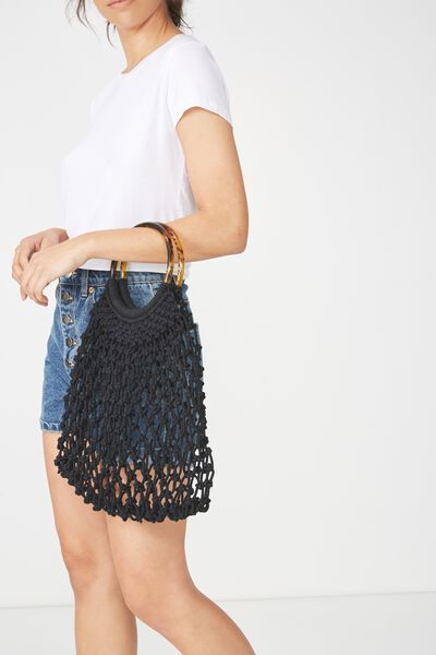 Tort Handle Macrame Bag, BLACK