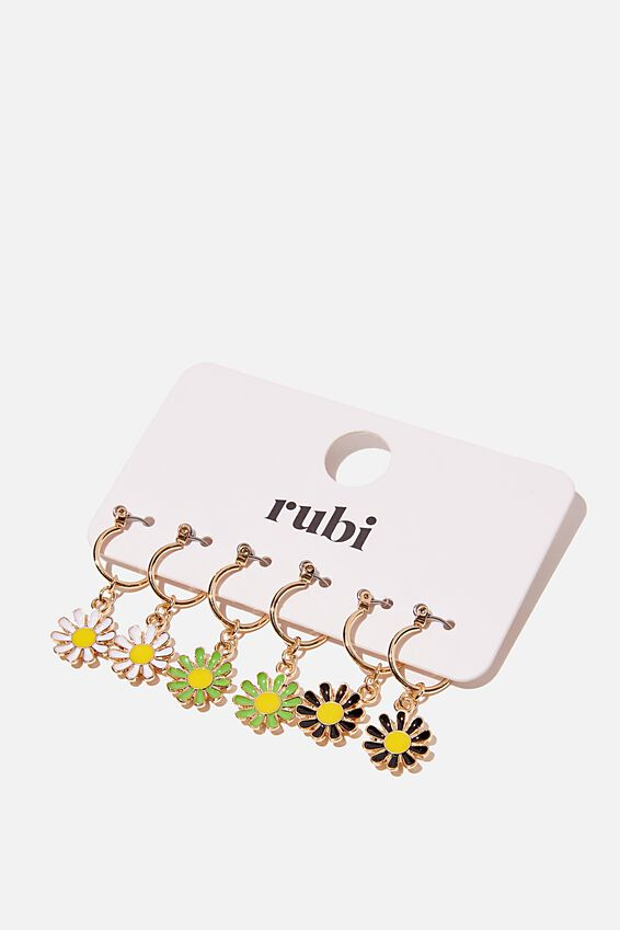 3Pk Luxe Layers Hoops, COLOURFUL DAISIES