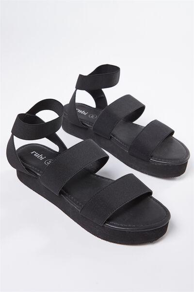 Justine Elastic Sandal, BLACK