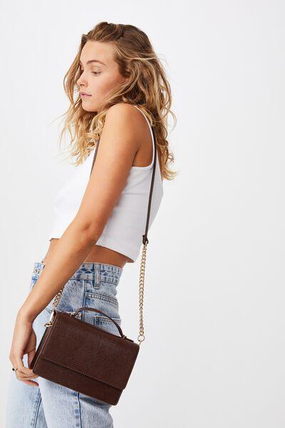 Aria Chain Strap Cross Body Bag, CHOC TEXTURE