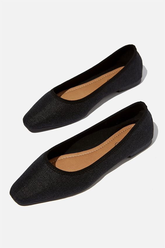 Essential Carina Square Toe Ballet, BLACK TEXTILE