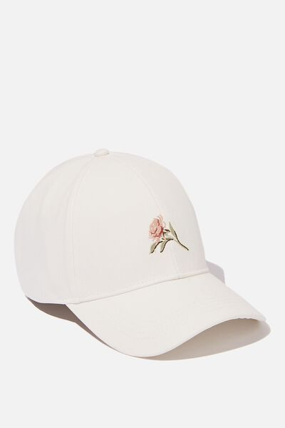 Selina Structured Cap, WHITE/FLORAL PLACEMENT