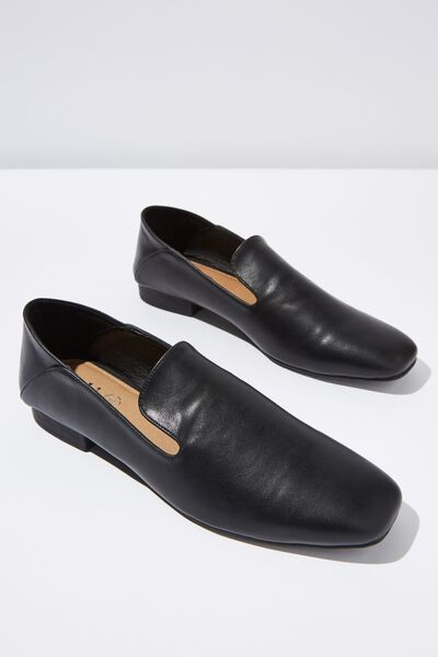 Malinda Square Toe Loafer, BLACK SMOOTH PU