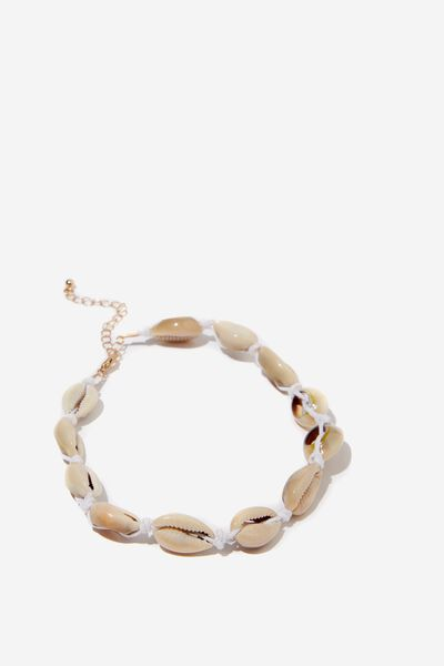 La Coruna Shell Choker Necklace, NATURAL