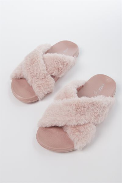 Max Xover Fluffy Sandal, DUSTY PINK MONO