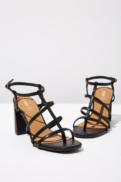 Farrah Strappy Toe Post Heel, BLACK SMOOTH