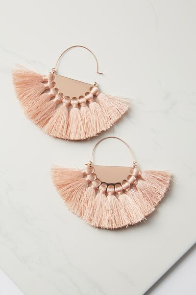 Half Hoop Fan Tassel Earring, PINK/ROSE GOLD