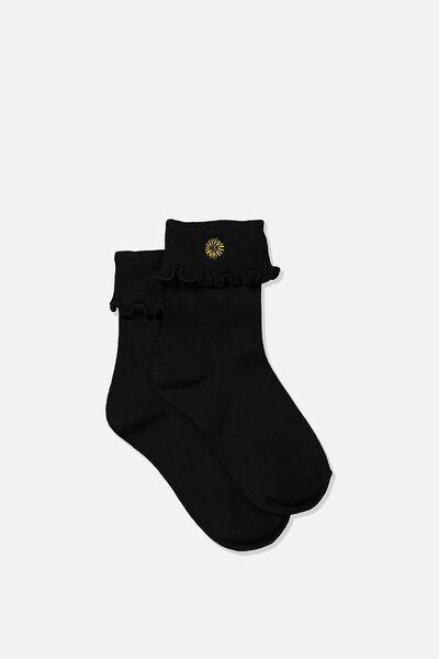 Embroidered Flirty Frill Sock, BLACK/SUNFLOWER