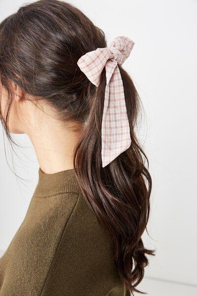Hair Ribbon, PINK WINDOW CHECK
