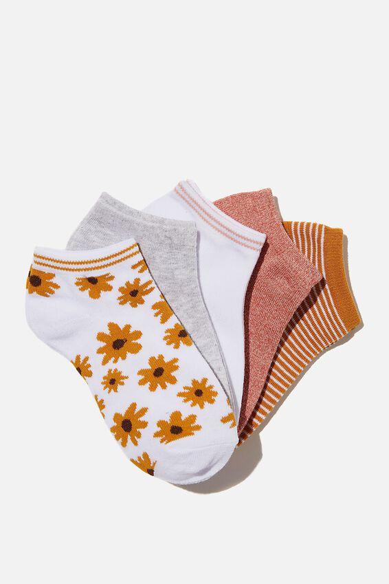 5Pk Ankle Sock, AMBER DAISY MIX