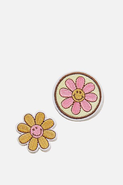 2Pk Embroidered Patches, LCN SMILEY MUSTARD DAISY