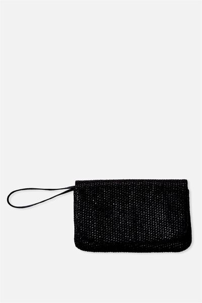 Metallic Paper Clutch, BLACK