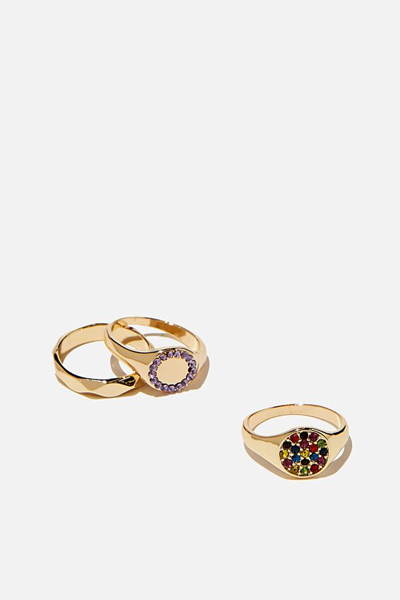 Brighter Days Ring Set, PAVE RAINBOW GOLD