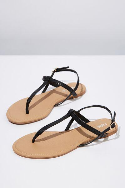 Everyday Toe Post Sandal, BLACK CROC PU