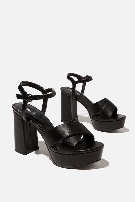Esther Platform Heel, BLACK PU