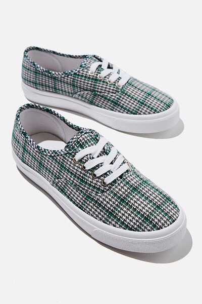 Jamie Lace Up Plimsoll, FOREST GREEN CHECK