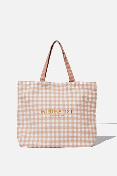 Minimalist Washed Tote, BLUSH CHECK