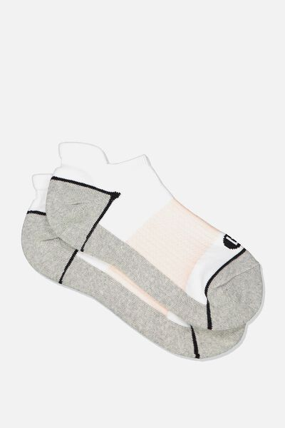 High Impact Ankle Sock, GREY/WHITE/PINK