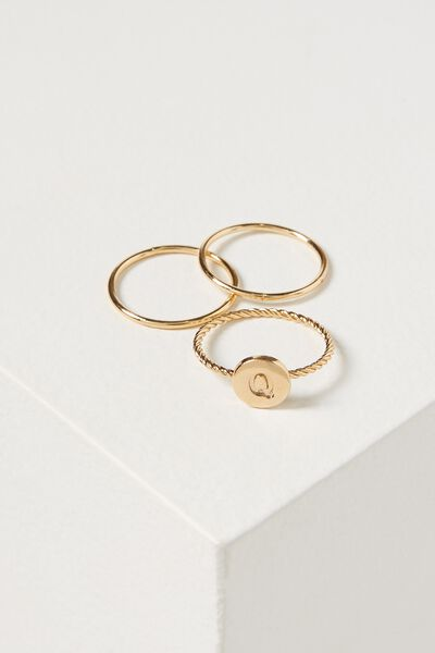 Letter Pendant Ring, GOLD - Q