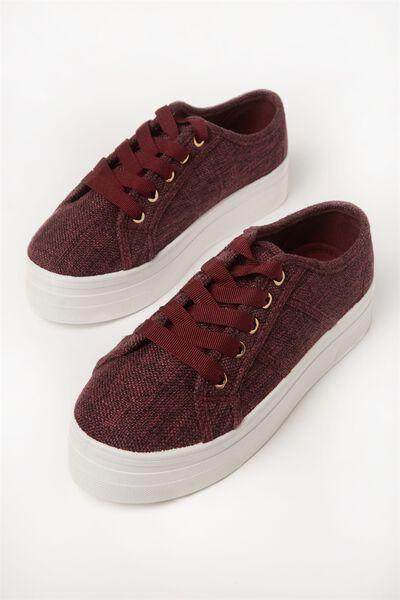 Willow Platform Sneaker, BLACKBERRY LINEN