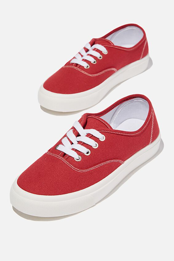 Jamie Lace Up Plimsoll, RED
