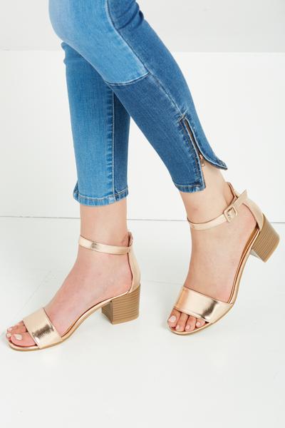 Olsen Low Block Heel, ROSE GOLD PU