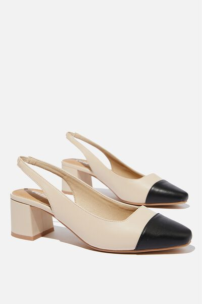 Lucia Low Block Heel, PALE TAUPE/BLACK