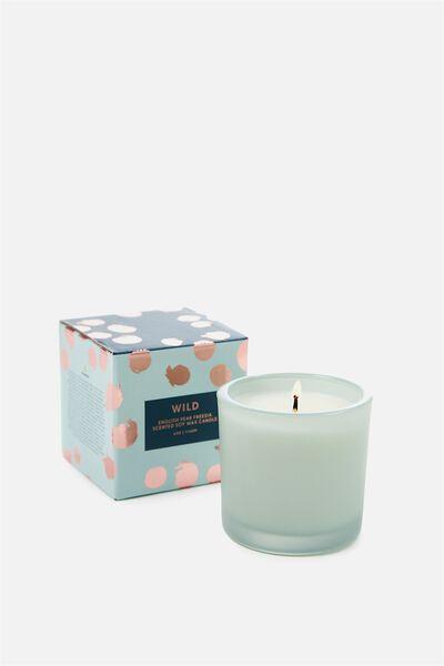 Small Box Candle, DUSTY GREEN/ENGLISH PEAR & FREESHIA