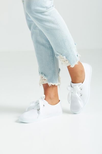 Indy Bow Plimsoll, WHITE TWILL
